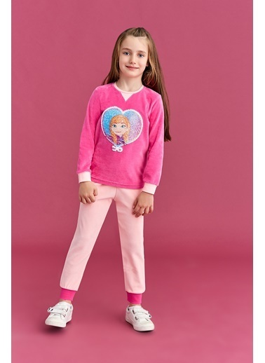 Frozen Karlar Ülkesi Elsa Ve Anna - Frozen Lisanslı Kız Çocuk Kadife Çift Yönlü Payet Pijama Takımı Fuşya Fuşya